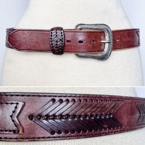 Vtg Wrangler western cognac brown leather belt 32